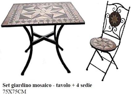 Bagno Italia - Conjunto de muebles para exterior, mesa cuadrada de mosaico con 4 sillas de hierro forjado I: Amazon.es: Jardín