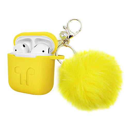 - Airpods Case, Silicone Skin Cover Case with Carabiner for Apple Airpods Charging Case (Yellow) Airpods Case, Protective Airpods Cover Soft Silicone Chargeable Headphone Case with Fur Ball