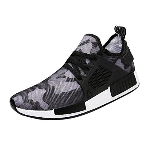 Moda Sneakers Uomo Nuovo Sportive Scarpe Casuale Sneakers Traspiranti Uomini Scarpe da Ginnastica Sneakerboots Bordo (Asia 42, Grigio)