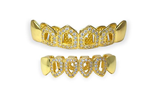 Diamond Gold Tone Grillz - Yellow Gold-Tone Iced Out Hip Hop Bling Open Face Cubic Zirconia (CZ) Removable Grill Grillz Combo Set with Mold Bar