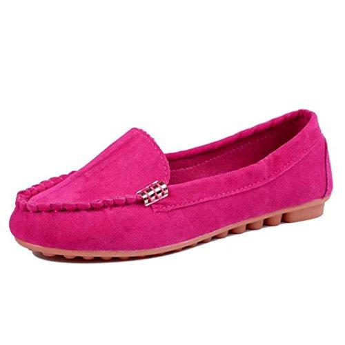 Transer® Damen Flach Mokassins Frühling/Herbst Casual Schuh Suede+Gummi Sandelholz Slipper(Bitte eine Nummer größer bestellen. Vielen Dank!) Hot Rot