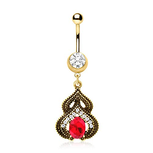 Covet Jewelry Gold Plated Ornate Arabesque Jewel Navel Ring