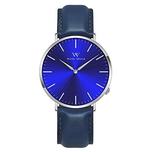 Mens Sapphire Quartz (Welly Merck Swiss Movement Luxury Watch Minimalistic Quartz Sapphire Crystal Wrist Watch with 20mm Italy Genuine Leather Interchangeable Blue Strap 3 ATM Water Resistant)