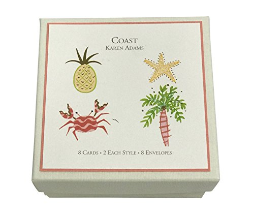 "Karen Adams""Coast"" Nautical Gift Enclosure Box of 8 Assorted Cards with Envelopes"