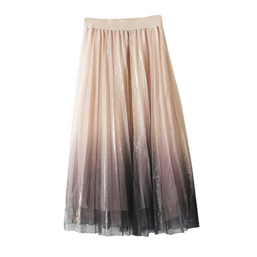 (Mysky Fashion Women Lovely Gradient Multi Layers Sequin Tulle Skirt Ladies Pleated Princess Long Tutu Skirt Beige)