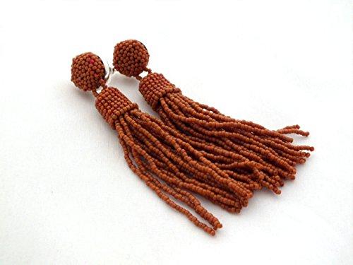 Terracotta brown tassel earrings beaded long tassle clip on statement seed beads fringe for her gift