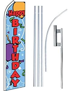 Swooper Flutter Flag plus Pole & Ground Spike HAPPY BIRTHDAY Ballons Blue Red