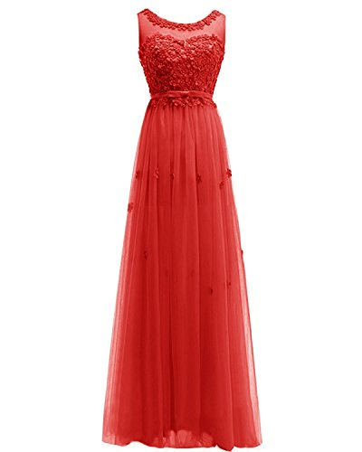 ASBridal Women's Long Tulle Bridesmaid Dress Handmade Flowers Evening Gown Prom Dress, Red, US24W ()