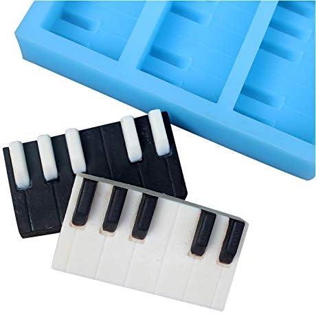Nicole Molde de silicona con forma de teclado de piano, hecho a mano, para jabón, chocolate, dulces, manualidades, arcilla de resina, herramienta de ...