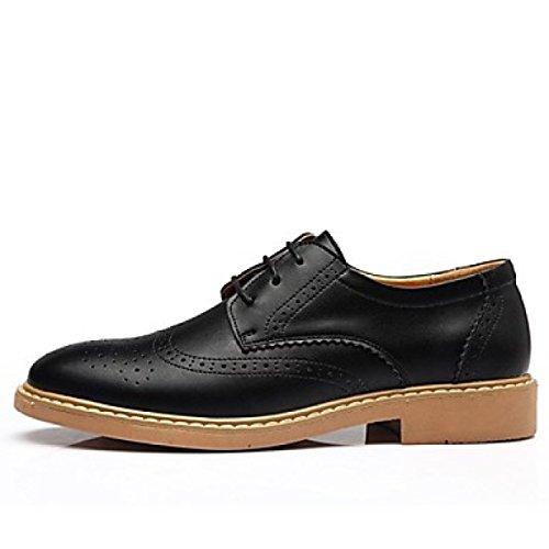 Primavera Casual Black Tacco up Leather Comfort Oxfords Estate Office Inverno Uomo Autunno Carriera Lace Piatto Da UnqHEBf