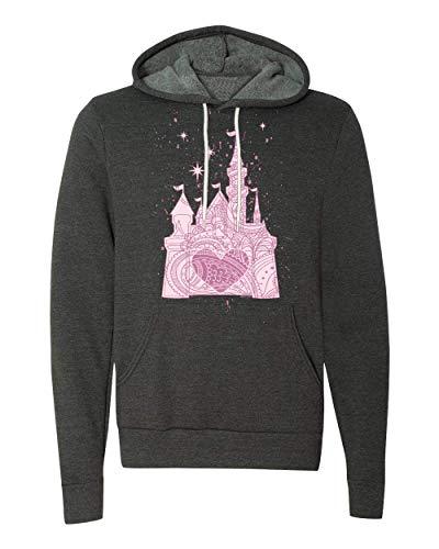 (The Perfectly Pink Princess Ladies Castle Fleece Hoodie (Large, Dark Heather Grey Hoodie - Prime))