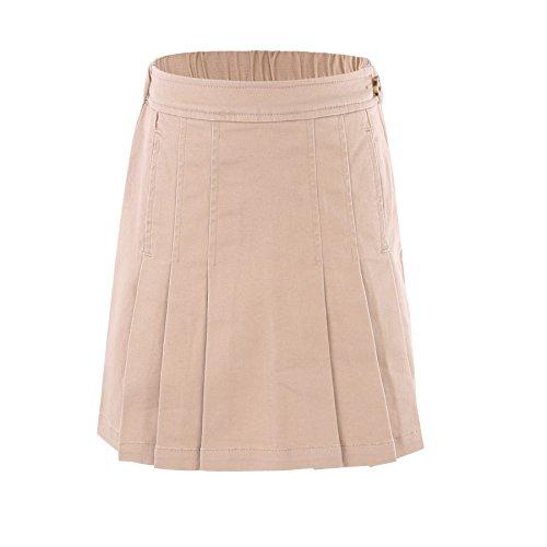 Bienzoe Girl's Cotton Stretchy School Uniforms Pleated Skirt