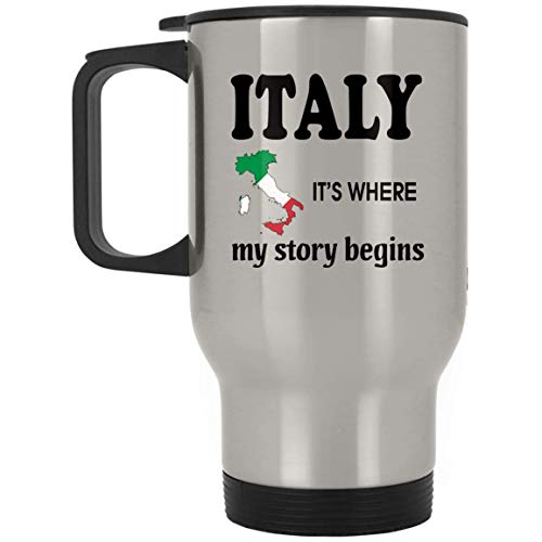 Go Happiness Italy Travel Coffee Mug Men Women - It's Where My Story Begins Mugs Funny - Birthday Gag Gifts Grandpa Grandma Dad Mom Friends Gift Cup Silver Stainless Steel by Go Happiness