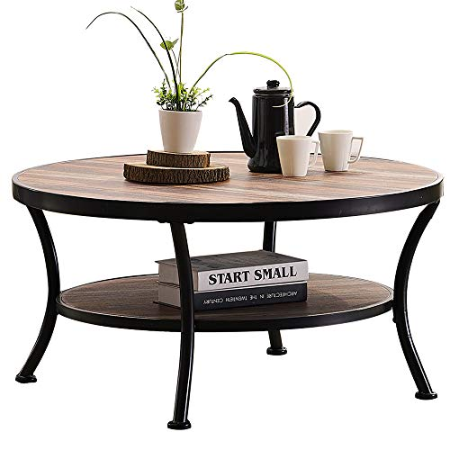 O&K Furniture Round Coffee Table for Living Room, Farmhouse Cocktail Table with Open Shelving, Vintage Brown Finish,1-Pcs