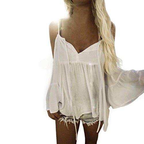 IEason Women Chiffon Tops Flare Sleeve Casual Strapless V Neck T-Shirt Blouse (XL=(US L), White)