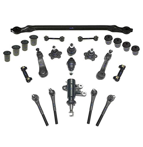 (PartsW 24 Pc Suspension Kit for Chevrolet C1500 Suburban, Tahoe, GMC Yukon/Center Link, Idler & Pitman Arms, Tie Rod End & Lower Ball Joints, Idler Arm Assembly, Upper & Lower Control Arm Bushing)