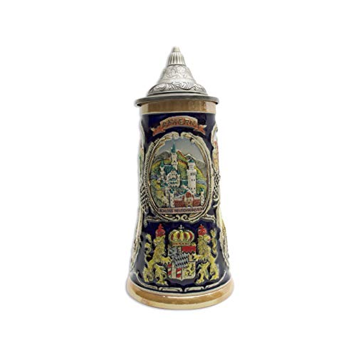 (Beer Stein Bayern German Village Scenes Engraved Lidded Beer Mug by E.H.G. | 1 Liter)