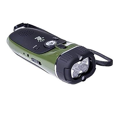 12 Survivors Emergency Hand Crank Radio/Flashlight, Black/Green from Sportsman Supply Inc.