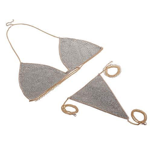 (Holylove Bikini Bra Set Body Chain Underwear Jewelry Silver Alloy Necklace Sexy for Women Lady Summer Beach Hawaiian Beachwear with Gift Box - BN6 Gold)