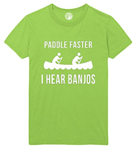 Paddle The Canoe Faster I Hear Banjos Printed T-Shirt - Lime - LG