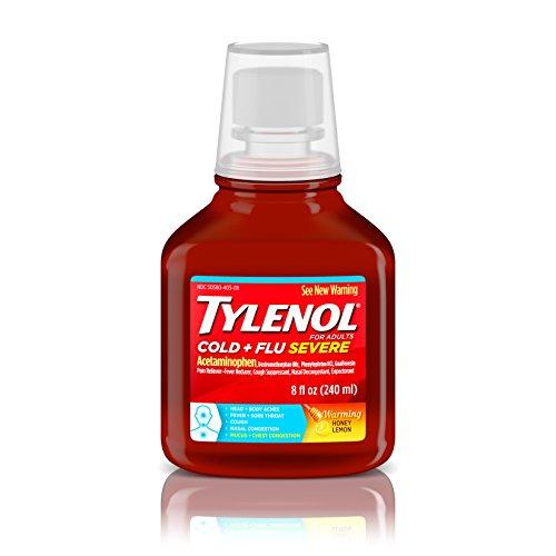 - Tylenol Cold + Flu Severe Flu Medicine, Liquid Daytime Cold and Flu Relief, Honey Lemon, 8 fl. oz (Pack of 3)