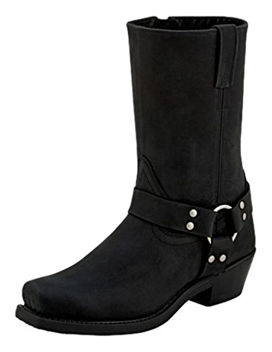 Old West Boots Women's Harness Boot Black Distressed 9 B US