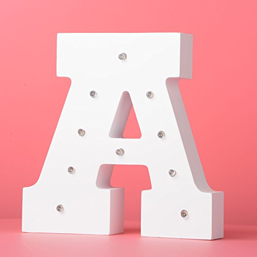 LED Light Up Wooden Alphabet Marquee Wall Letter Night Decorative DIY White Letters Lights Sign With Battery Operated for Festival Party Wedding Holiday Birthday Christmas Valentine Rom (Wooden Halloween Yard Signs)