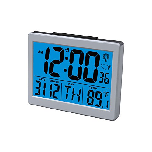 Jumbo Font Atomic Clock Self-setting Self-adjusting Time Display, with Snooze Light Large LCD Backlight Display Time & Indoor Temperature, Battery Powered Deskside Alarm Clock (Military Time 24 Hr Clock)