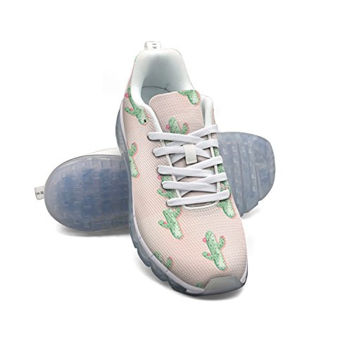 buy cheap official site FAAERD Cute Cactus And Flowers Women's Breathable Mesh Walking Sneakers Air Cushion Sports Shoes Breathable Athletic Running Shoes cheap sale supply Vwr9gvr3Z4