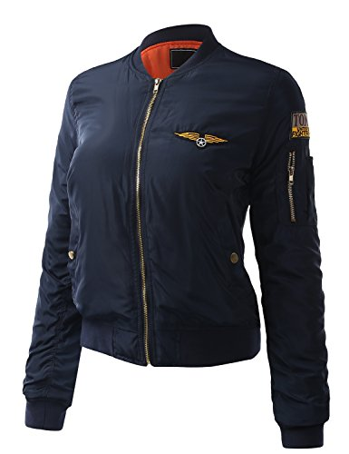 ALL FOR YOU Women's Stylish Zip Up Bomber Jacket With Patch Navy Medium