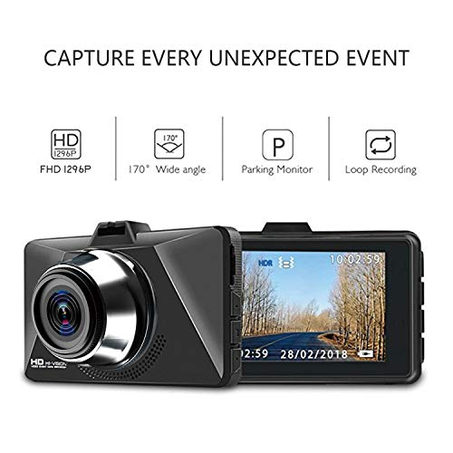 Dash Cam for Cars, Eagle Dash Camera 1296P Super Full HD, 3″ TFT Screen, 170° Super Wide Angle, HDR, G-Sensor, Loop Recording and Motion Detection