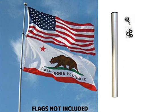 (Flags Importer FGP-22FT Flag Pole, 22ft, Silver)