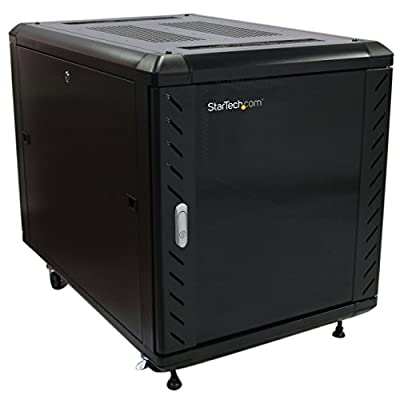 StarTech RK1236BKF 12U 36in Knock-Down Server Rack Cabinet with Casters