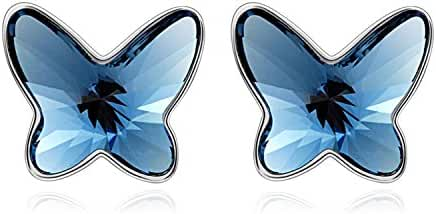 T400 Jewelers Swarovski Crystals Butterfly Stud Earrings For Kids Teens Love Gift