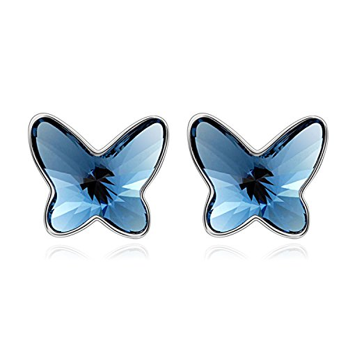 T400 Jewelers Butterfly Stud Earrings Made with Swarovski Crystals For Kids Teens Love (Swarovski Butterfly Ring)