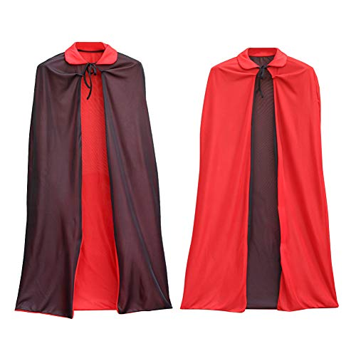 Unisex Costume Cosplay Collar Cloak - Black Red Reversible Halloween Christmas Witch Party Easter Vampires Role Cape Kids Teen Adult 35.4