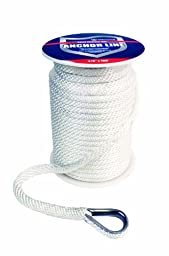 Attwood 11724-1 Solid Braid MFP Anchor Line with Thimble (White, 3/8-Inch x 100-Feet)