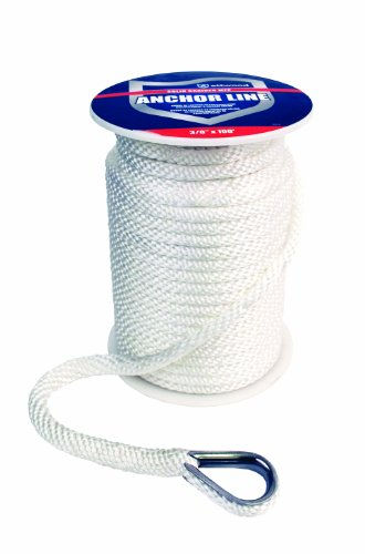 Attwood 11724-1 Solid Braid MFP Anchor Line with Thimble (White, 3/8-Inch x 100-Feet) (100' Line)