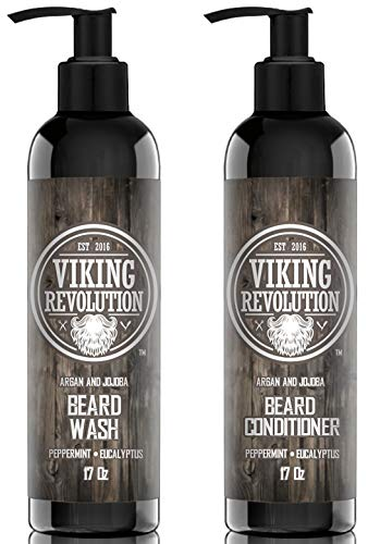 Viking Revolution Beard Wash & Beard Conditioner Set w/Argan & Jojoba Oils – Softens, Smooths & Strengthens Beard Growth – Natural Peppermint and Eucalyptus Scent – Beard Shampoo w/Beard Oil (17 oz)