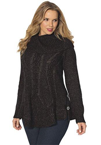 Women's Plus Size Cowl Neck Cable Pullover – 1X, Black Slate