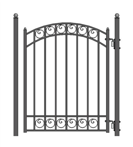 ALEKO PGDUB Dublin Style Ornamental Galvanized Steel Pedestrian Security Gate 5 x 4 Feet Black