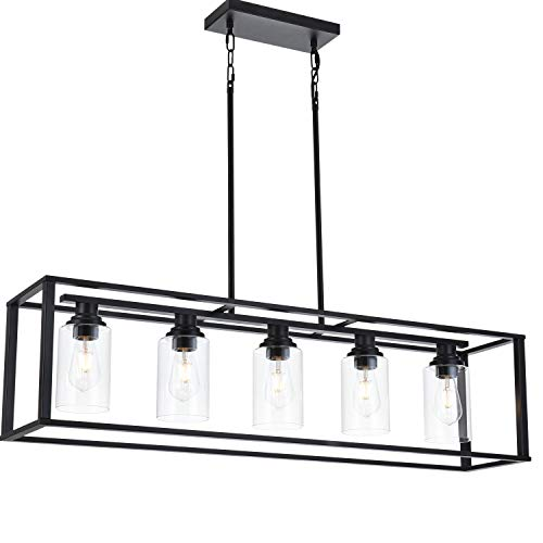LUBURS  Kitchen Island Lighting – 5 Lights Chandelier,Black Pendant Lighting with Metal Adjustable Rods&Clear Glass Shade, Vintage Pendant Ceiling Lamp for Dining Room Kitchen Living Room Farmhouse