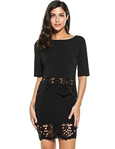 Zeagoo Womens Party Club 2 Piece Crop Top and Midi Skirt Lace Outfit Set,Black/XXL (Black Midi Set)