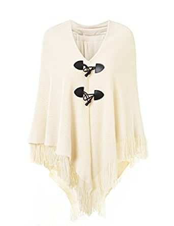 Ferand Women's Loose Fitting Poncho Cape Shawl with Stylish Horn Buttons, V Neckline and V Hem, One size , Beige