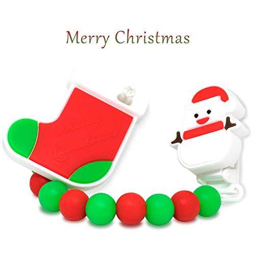 Pacifier Clip - 2 In 1 - Soother Pacifier Straps Baby Teether Toys, Food Grade Silicone Beads Provides Teething Relief Gum Massage, BPA Free, Best Christmas Gift for Infant Toddler Babies