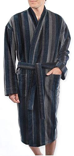 Majestic International Terry Velour Stripe Kimono Robe in Navy Gray Herringbone ()