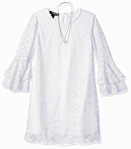 Girl White Lace Dress - Amy Byer Girls' Big Bell Sleeve