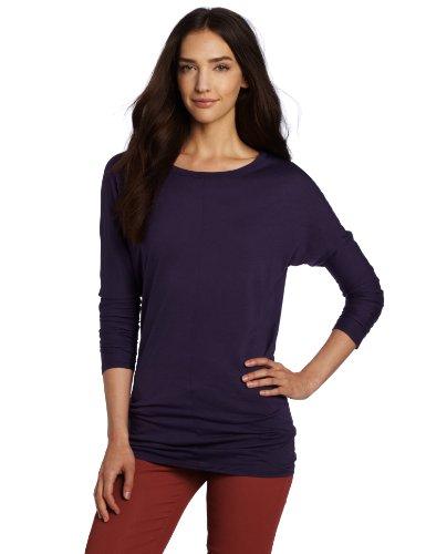 SOLOW Women's Long Sleeve Boatneck Tunic, Grape, (Long Sleeve Boatneck Tunic)