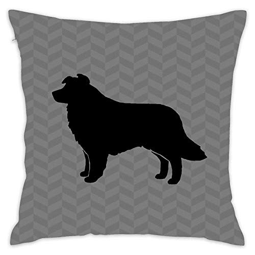 Border Collie Silhouette(S) Cotton Square Throw Waist Pillow Case Decor Cushion Cover Pillowcase Sofa 18