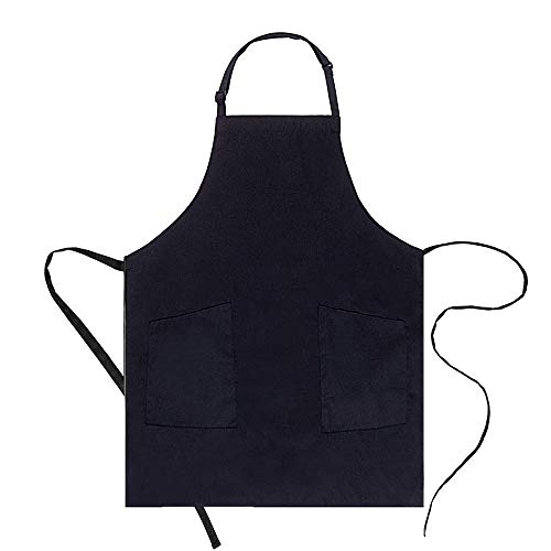 Adjustable Bib Apron - Black Cooking Apron Extra Long Ties ( 32x28 ) Kitchen Apron for Women with Pockets Chef Apron Cooking Gadget Recipe Cards Holder by CLOCOR (1 Pack)